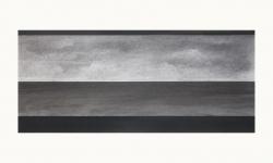 LANDSCHAP I     HOUTSKOOL EN SIBERISCH KRIJT OP PAPIER, 36×60 CM