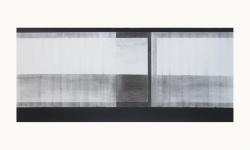 LANDSCHAP II     HOUTSKOOL EN SIBERISCH KRIJT OP PAPIER, 36×60 CM