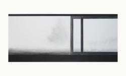 LANDSCHAP III     HOUTSKOOL EN SIBERISCH KRIJT OP PAPIER, 36×60 CM