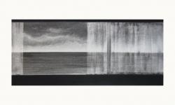 LANDSCHAP IV     HOUTSKOOL EN SIBERISCH KRIJT OP PAPIER, 36×60 CM