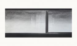 LANDSCHAP V     HOUTSKOOL EN SIBERISCH KRIJT OP PAPIER, 36×60 CM